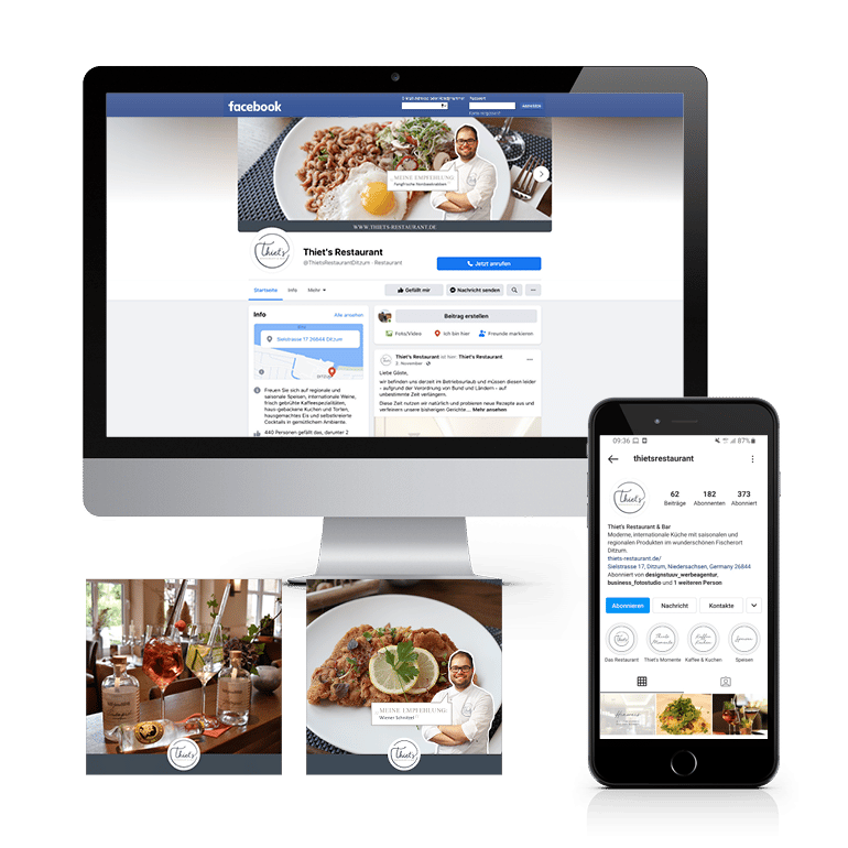 Referenzen Social Media Thiets Restaurant