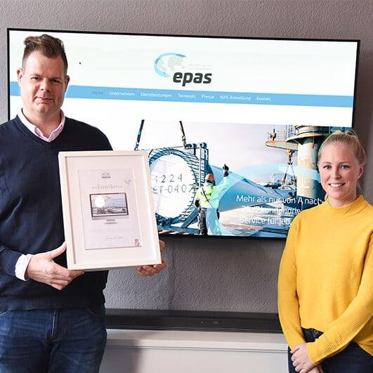 DESIGNSTUUV Referenz EPAS Zertifikatübergabe für Website