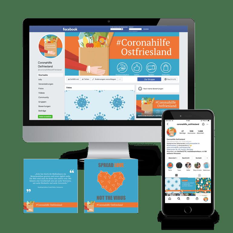 Referenzen Social Media Coronahilfe Ostfriesland